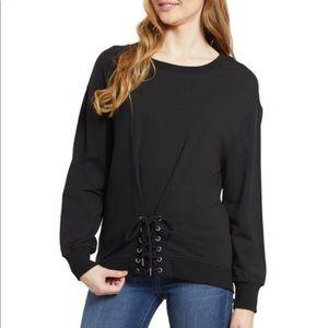 Kensie Jeans | Black Corset-Accent Sweatshirt